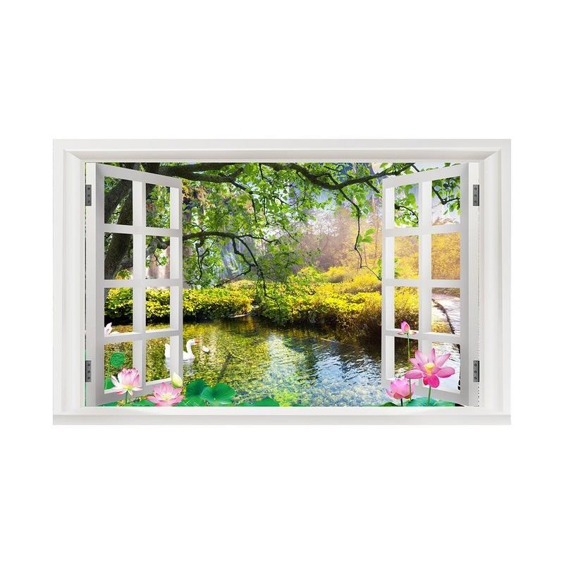 papier peint tapisserie personnalis paysage zen trompe l 39 oeil effet 3d avec les lotus papier. Black Bedroom Furniture Sets. Home Design Ideas