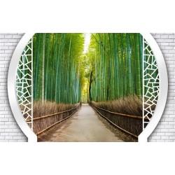 Papier peint 3D paysage - Petit chemin dans la forêt de bambous - Extension d'espace