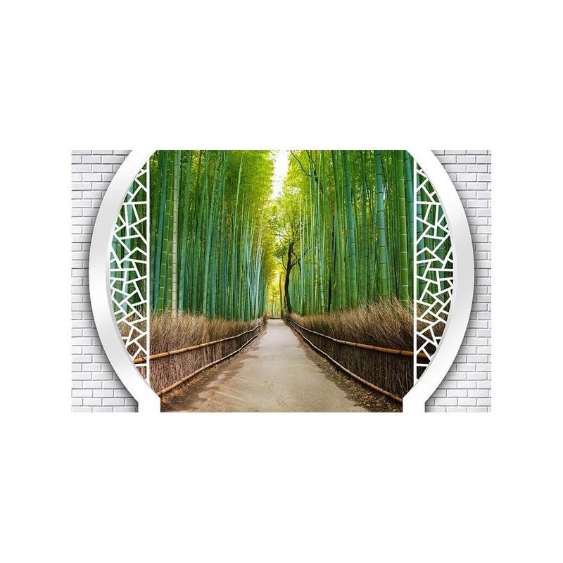 papier peint 3d extension d 39 espace paysage trompe l 39 oeil petit chemin dans la for t de bambou. Black Bedroom Furniture Sets. Home Design Ideas
