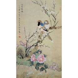 Tapisserie asiatique style ancien - Les oieaux et les fleurs en printemps