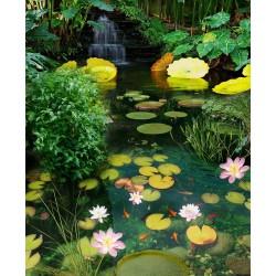 Revêtement sol paysage zen - Petite cascade tropicale