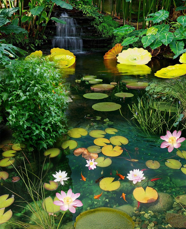 Revêtement De Personnalisé Paysage Zen Petite Cascade Tropicale