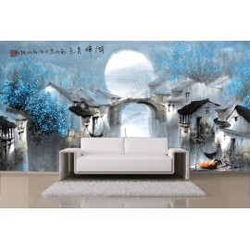 Tapisserie asiatique paysage zen - Petit village dans la nuit bleu