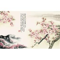 Tapisserie florale style asiatique - Paysage avec les fleurs de pêcher et le poème