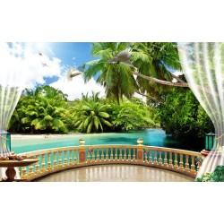 Papier peint 3D paysage tropical - Sur le balcon avec les cocotiers - Extension d'espace