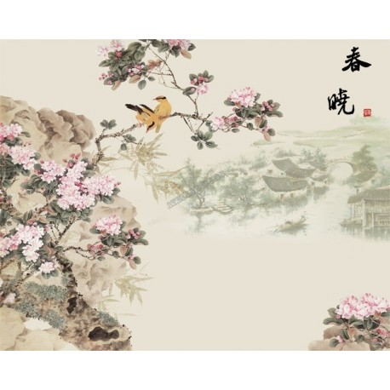d coration d 39 int rieur tapisserie num rique sur mesure style asiatique paysage avec les fleurs. Black Bedroom Furniture Sets. Home Design Ideas