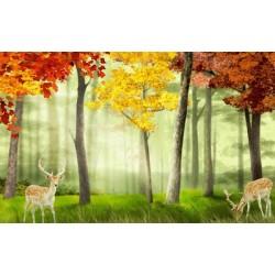 Tapisserie paysage multi-couleur - Les cerfs dans la forêt