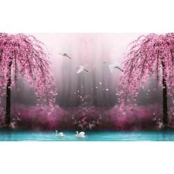 Tapisserie paysage fantaisie - Les cygnes avec les fleurs rose