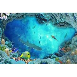 Revêtement de sol paysage fond marin - Le requin et les poissons