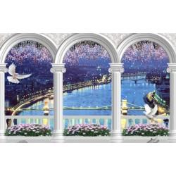 Décoration murale trompe l'oeil effet 3D - La nuit bleu sur la rivière