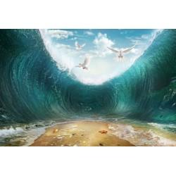 Paysage océan trompe l'oeil effet 3D - La tempête tropicale