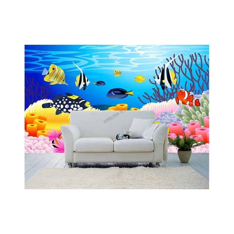 wallpaper ocean fish d coration chambre b b paysage fond marin poisson. Black Bedroom Furniture Sets. Home Design Ideas