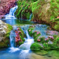 Revêtement de sol paysage avec chute d'eau