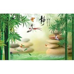 Tapisserie zen SPA - Les bambous et les oiseaux