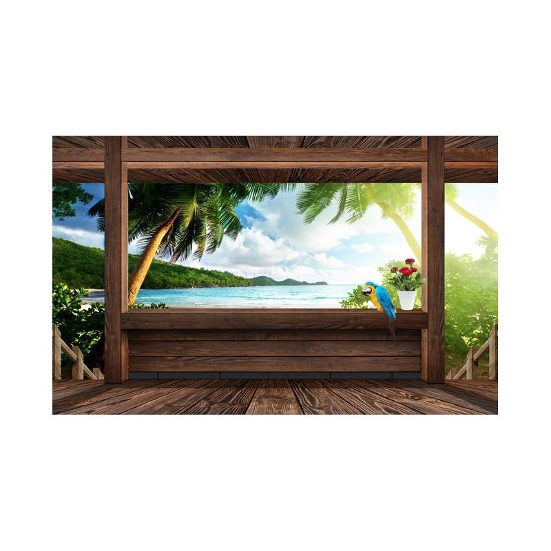 d coration murale trompe l 39 oeil effet 3d extension d 39 espace tapisserie vue de la mer depuis la. Black Bedroom Furniture Sets. Home Design Ideas