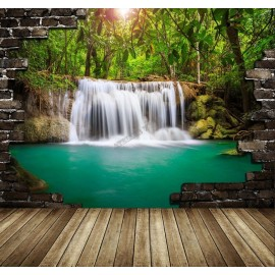 Tapisserie trompe l'œil effet 3D - Cascade tropicale - Extension d'espace