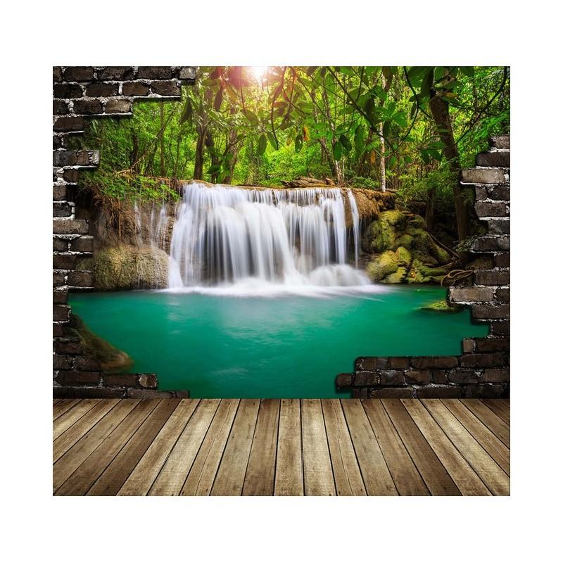 d coration murale trompe l 39 oeil effet 3d extension d 39 espace cascade dans la for t tropicale. Black Bedroom Furniture Sets. Home Design Ideas