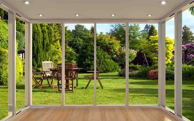 décoration murale trompe l\'oeil effet 3D extension d\'espace jardin  ensoleillé - Atelier WYBO