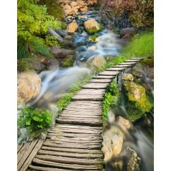 Revêtement de sol paysage - Petit pont en bois sur la rivière