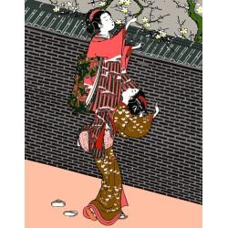 Papier peint japonais - Cueillir les fleurs en printemps