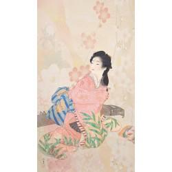 Papier peint japonais - Fille et son instrument de musique à cordes pincées