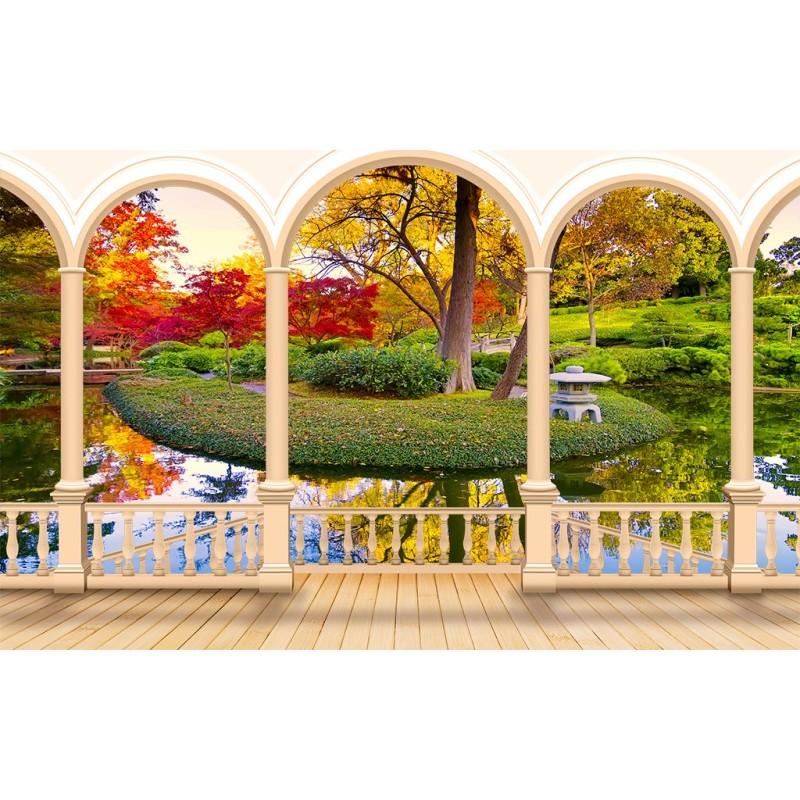 papier peint paysage trompe l\'oeil effet 3D extension d\'espace ...