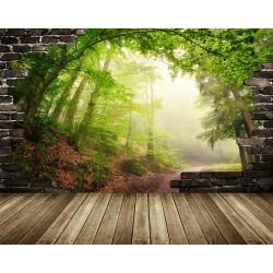 Paysage trompe l'œil effet 3D - Forêt dans le brouillard - Extension d'espace