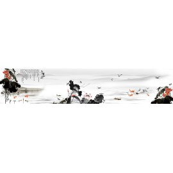 Tapisserie asiatique grand format panoramique - Paysage avec les lotus rouges et les poissons