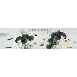 Tapisserie asiatique grand format panoramique - Les lotus et les poissons dans l'étang effet sur marbre