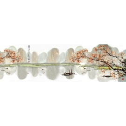 Tapisserie asiatique grand format panoramique - Paysage d'automne