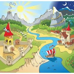 Dessin coloré chambre d'enfant - Château dans la vallée, pays imaginaire