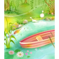 Dessin naïf - Paysage d'été - Au bord de l'étang