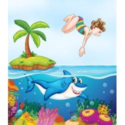 Dessin pour enfant - Nager avec mon requin