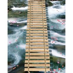 Revêtement de sol paysage romantique - Pont de corde sur la rivière