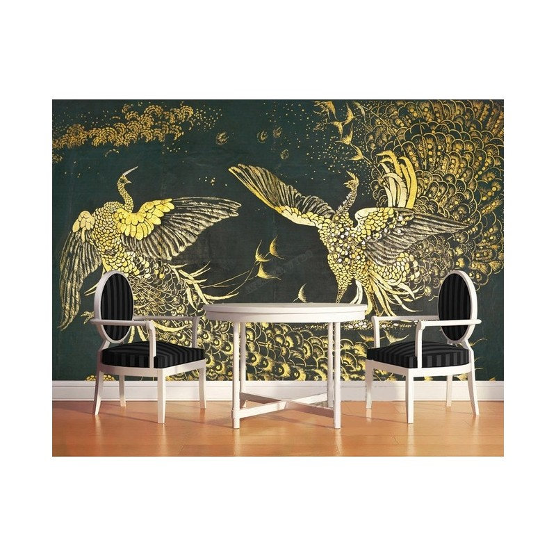 d coration style asiatique papier peint chinois sur mesure tapisserie num rique ph nix dor sur. Black Bedroom Furniture Sets. Home Design Ideas