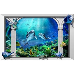 Papier peint photo trompe l'oeil 3D - Paysage fond marin - Dauphins 004
