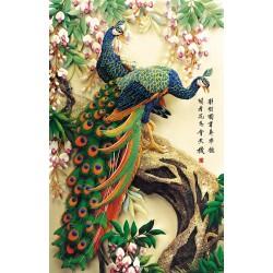 Tapisserie asiatique en effet basrelief - Les deux paons sur l'arbre avec les fleurs de printemps
