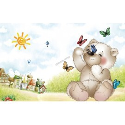 Papier peint chambre enfant - Mon nounours joue avec les papillons