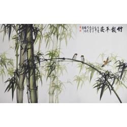 Papier peint chinois - Les bambous et les oiseaux 3