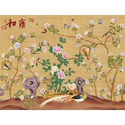 Papier peint chinois effet sur mur en paille - Les fleurs, les oiseaux et les papillons