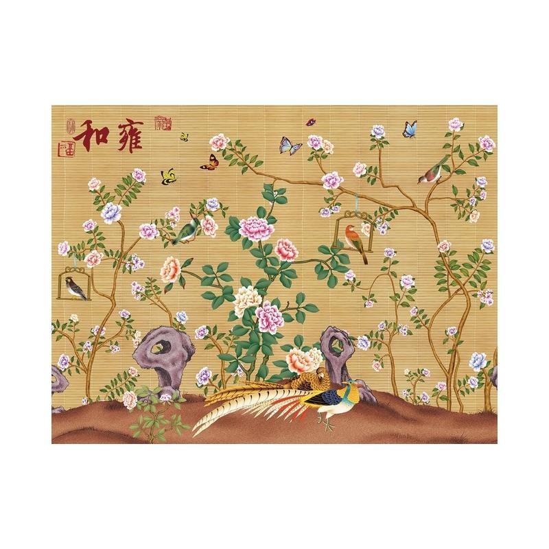 Papier Peint Asiatique Sur Mesure Effet Sur Mur En Paille Les Fleurs