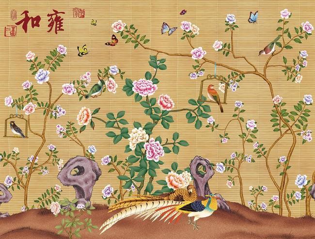 papier peint asiatique sur mesure effet sur mur en paille les ...