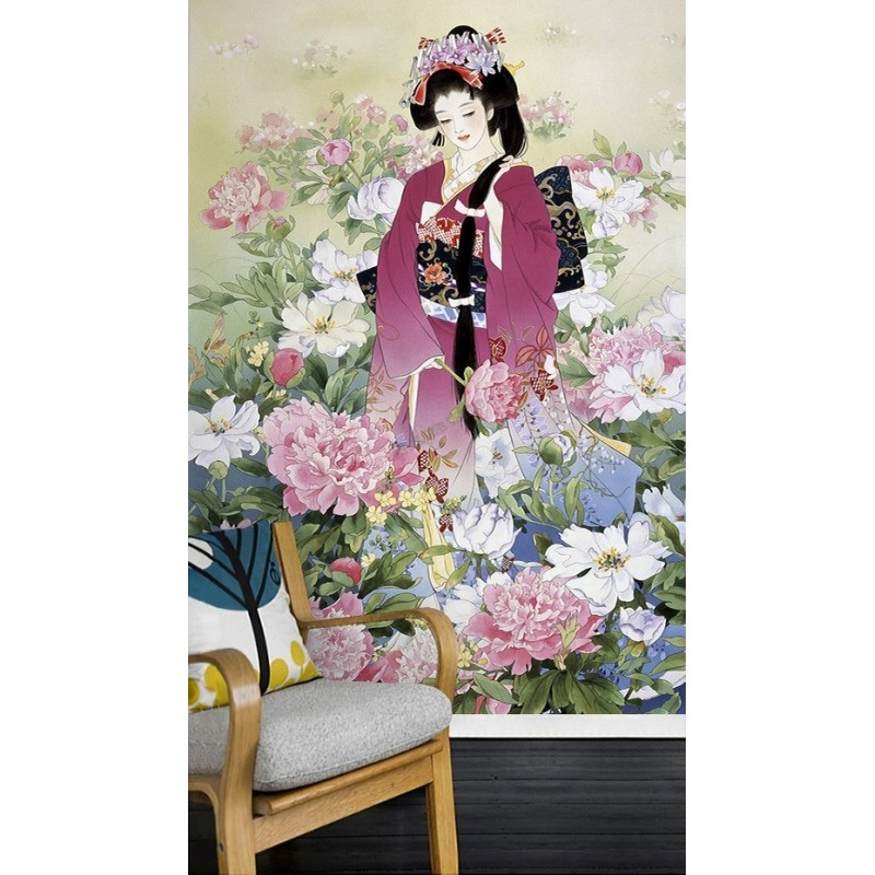 papier peint asiatique personnalis style japonais portrait fille japonais avec pivoine papier. Black Bedroom Furniture Sets. Home Design Ideas