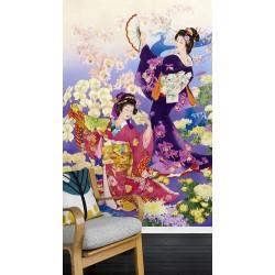 Papier peint japonais - Danse avec les orchidées et les chrysanthèmes