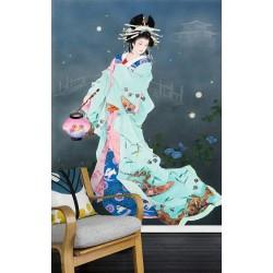 Papier peint japonais - La nuit avec les lucioles