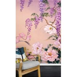 Tapisserie florale style japonais - Les pivoines, la glycine et les orchidées