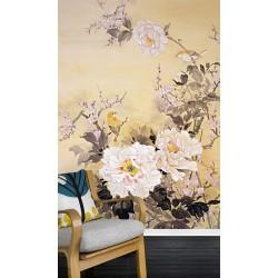 Tapisserie florale style japonais - Les pivoines, les fleurs de pêcher et les oiseaux