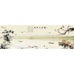 Papier peint chinois esprit zen format panoramique - Paysage avec le poème, les fleurs et les bambous