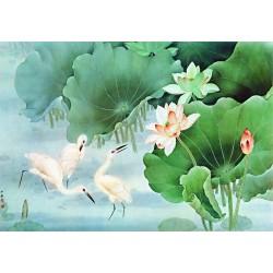 Tapisserie asiatique  - Les cigognes dans l'étang avec les lotus
