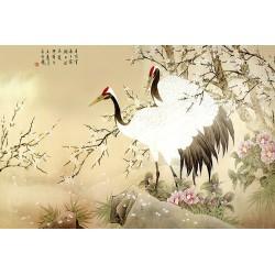 Tapisserie asiatique - Les grues du Japon avec les fleurs de cerisier et les camélias